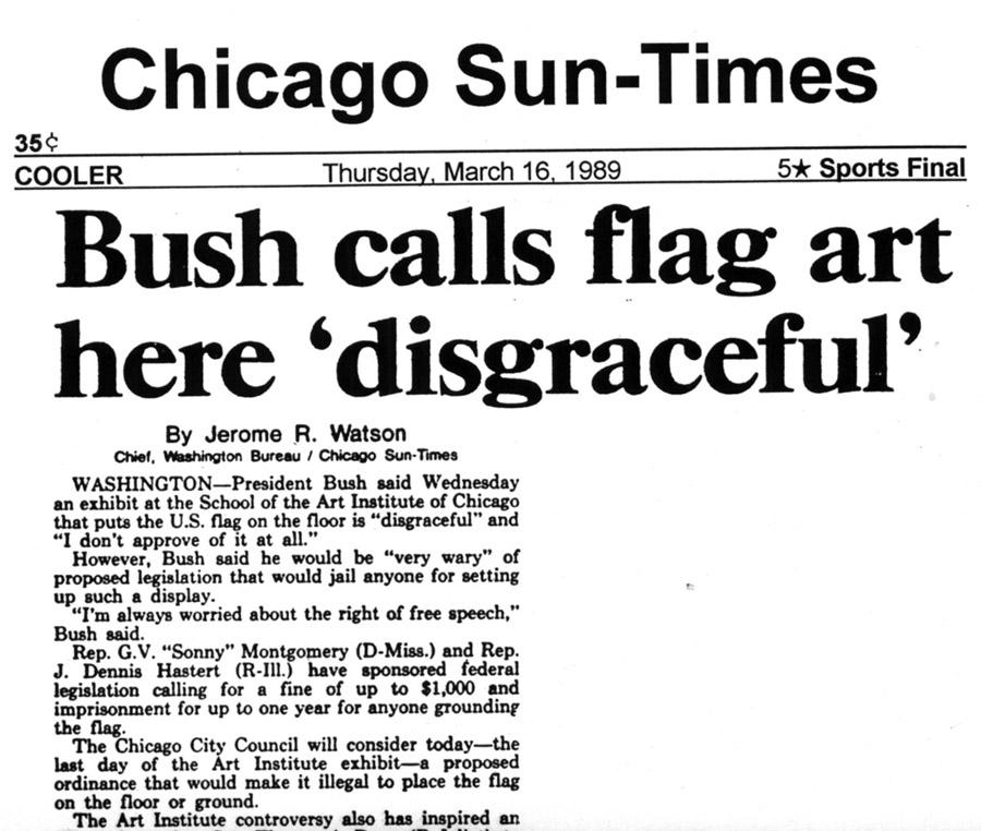 "Bush calls Dread Scott art ""disgraceful"""