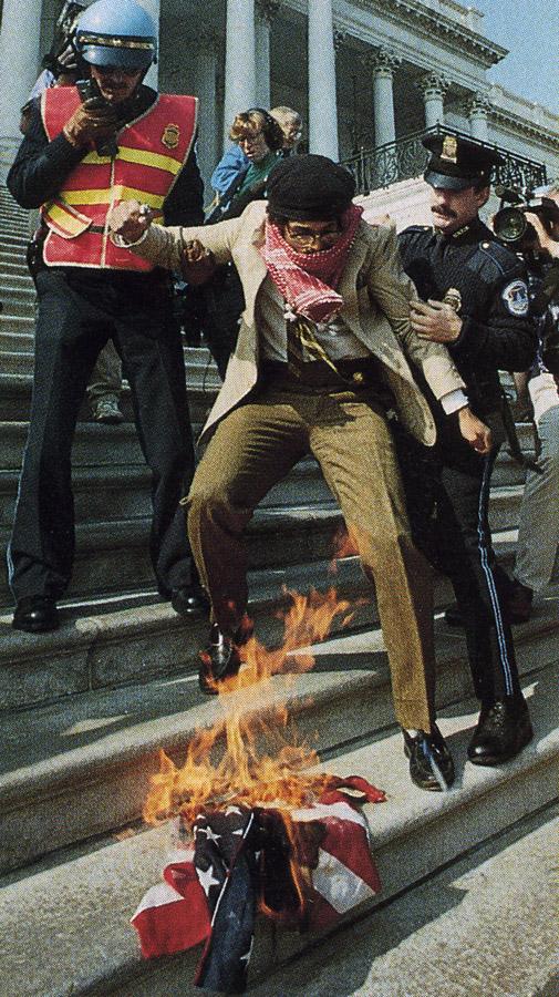 Burning flag at US Capitol