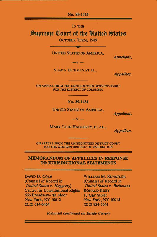 supreme court brief, US vs Eichman